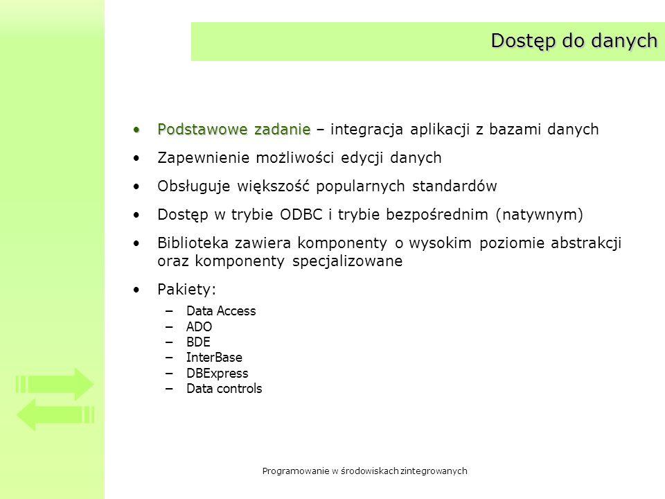 Programowanie w środowiskach zintegrowanych Dostęp do danych Podstawowe zadaniePodstawowe zadanie – integracja aplikacji z bazami danych Zapewnienie m