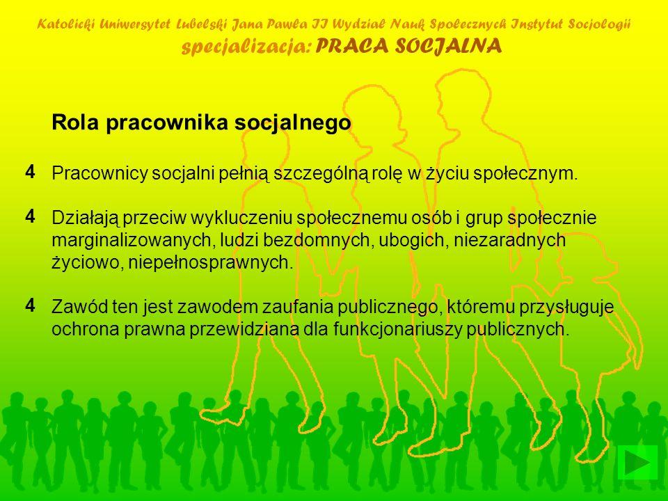 Katolicki Uniwersytet Lubelski Jana Pawła II Wydział Nauk Społecznych Instytut Socjologii specjalizacja: PRACA SOCJALNA Rola pracownika socjalnego Pra