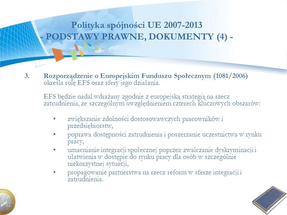 Polityka spójności UE 2007-2013 - PODSTAWY PRAWNE, DOKUMENTY (4) - 3.Rozporządzenie o Europejskim Funduszu Społecznym (1081/2006) określa rolę EFS ora