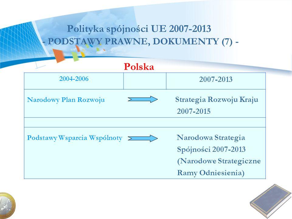 Polityka spójności UE 2007-2013 - PODSTAWY PRAWNE, DOKUMENTY (7) - Polska 2004-2006 2007-2013 Narodowy Plan Rozwoju Strategia Rozwoju Kraju 2007-2015