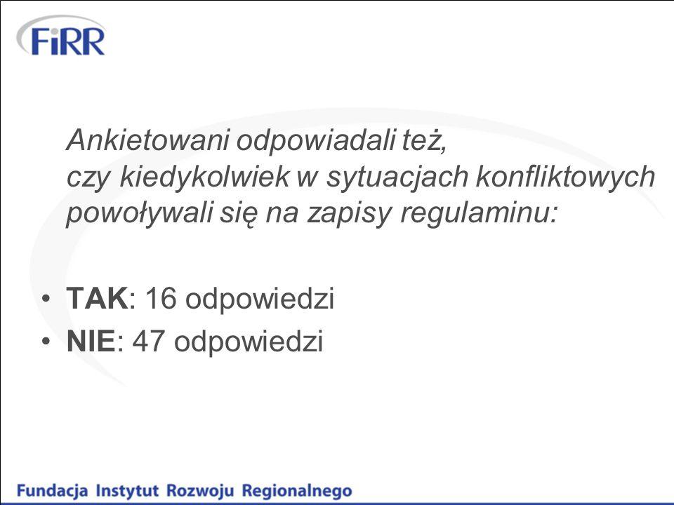 Ankietowani odpowiadali też, czy kiedykolwiek w sytuacjach konfliktowych powoływali się na zapisy regulaminu: TAK: 16 odpowiedzi NIE: 47 odpowiedzi