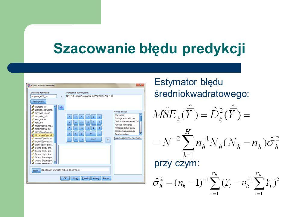Generowanie raportu z predyktorami Utworzone składowe zsumować można korzystając z opcji: Analiza > Opis statystyczny > Statystyki opisowe…