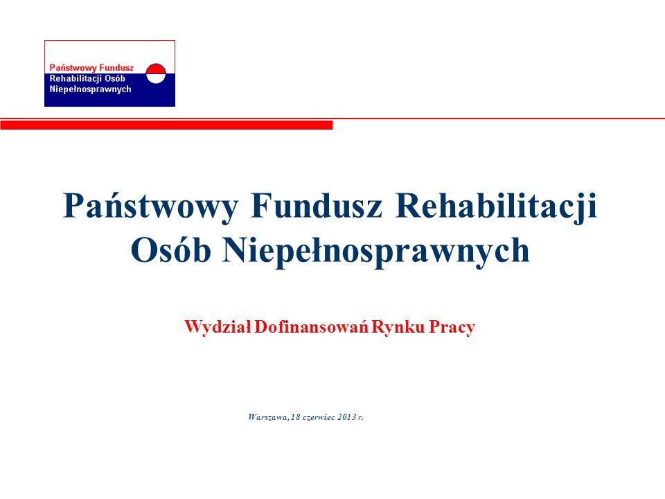 Państwowy Fundusz Rehabilitacji Osób Niepełnosprawnych Wydział Dofinansowań Rynku Pracy Warszawa, 18 czerwiec 2013 r.