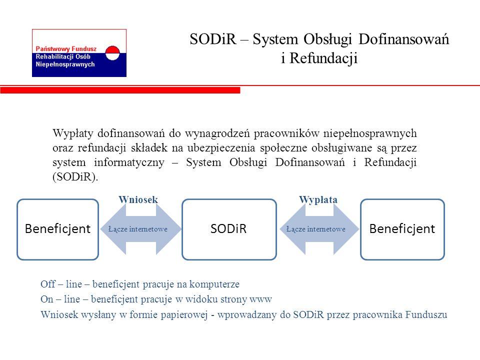 SODiR – System Obsługi Dofinansowań i Refundacji Wypłaty dofinansowań do wynagrodzeń pracowników niepełnosprawnych oraz refundacji składek na ubezpiec