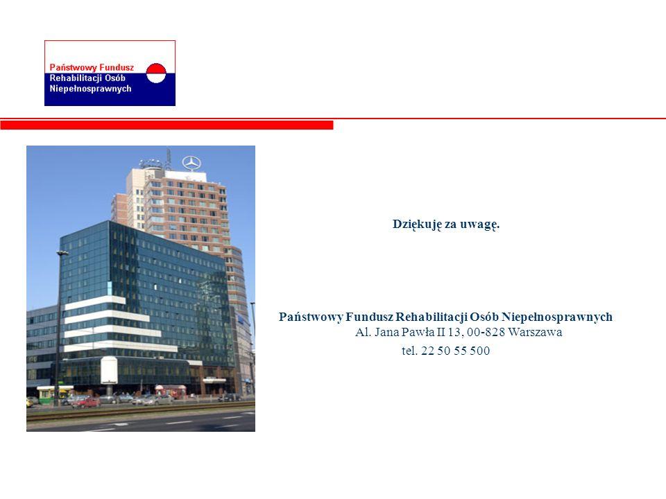Dziękuję za uwagę. Państwowy Fundusz Rehabilitacji Osób Niepełnosprawnych Al. Jana Pawła II 13, 00-828 Warszawa tel. 22 50 55 500