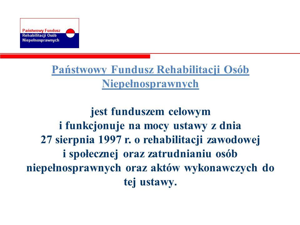 Państwowy Fundusz Rehabilitacji Osób Niepełnosprawnych jest funduszem celowym i funkcjonuje na mocy ustawy z dnia 27 sierpnia 1997 r. o rehabilitacji