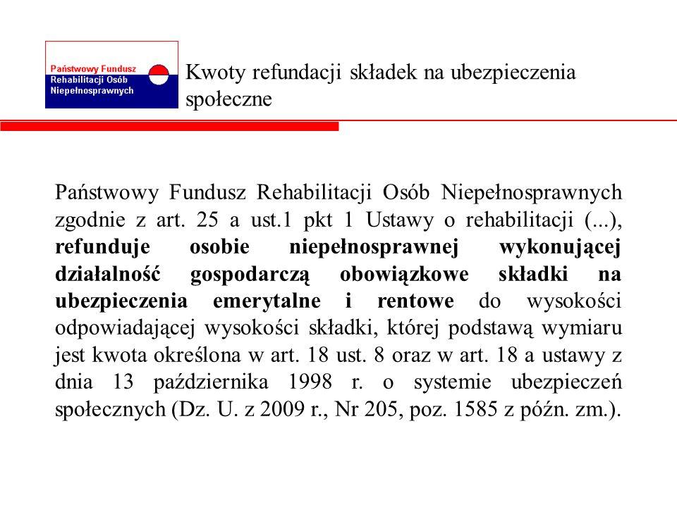 Państwowy Fundusz Rehabilitacji Osób Niepełnosprawnych zgodnie z art. 25 a ust.1 pkt 1 Ustawy o rehabilitacji (...), refunduje osobie niepełnosprawnej