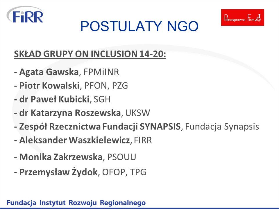 POSTULATY NGO SKŁAD GRUPY ON INCLUSION 14-20: - Agata Gawska, FPMiINR - Piotr Kowalski, PFON, PZG - dr Paweł Kubicki, SGH - dr Katarzyna Roszewska, UK