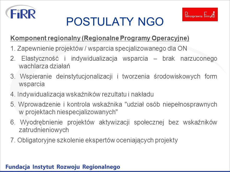 POSTULATY NGO Komponent regionalny (Regionalne Programy Operacyjne) 1. Zapewnienie projektów / wsparcia specjalizowanego dla ON 2. Elastyczność i indy