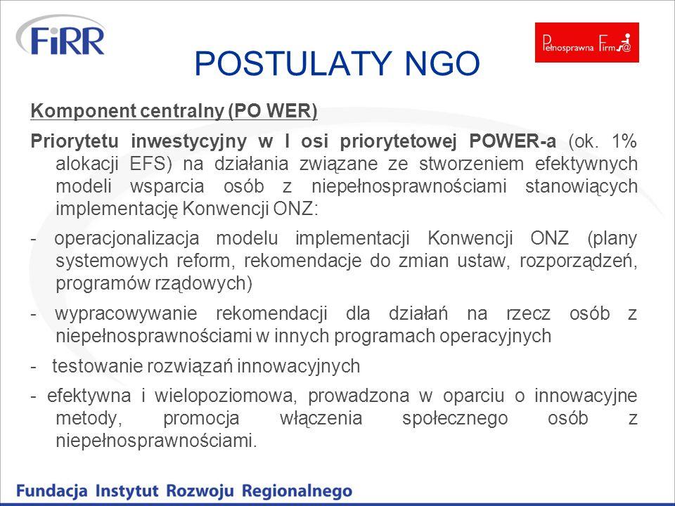 POSTULATY NGO Komponent centralny (PO WER) Priorytetu inwestycyjny w I osi priorytetowej POWER-a (ok. 1% alokacji EFS) na działania związane ze stworz
