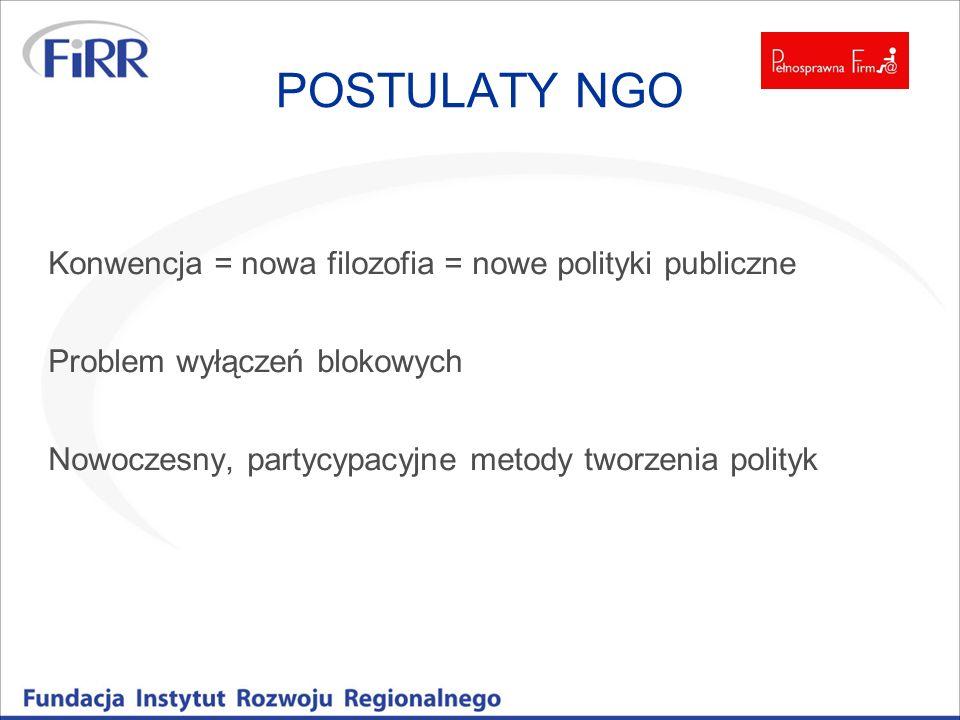 POSTULATY NGO Konwencja = nowa filozofia = nowe polityki publiczne Problem wyłączeń blokowych Nowoczesny, partycypacyjne metody tworzenia polityk