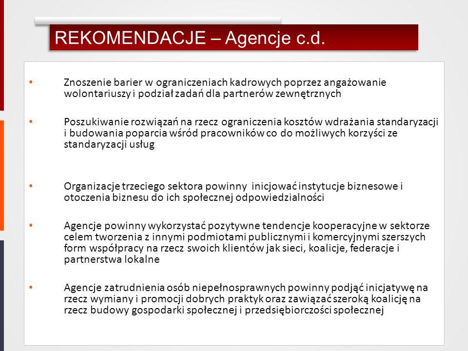 REKOMENDACJE – Agencje c.d. Znoszenie barier w ograniczeniach kadrowych poprzez angażowanie wolontariuszy i podział zadań dla partnerów zewnętrznych P