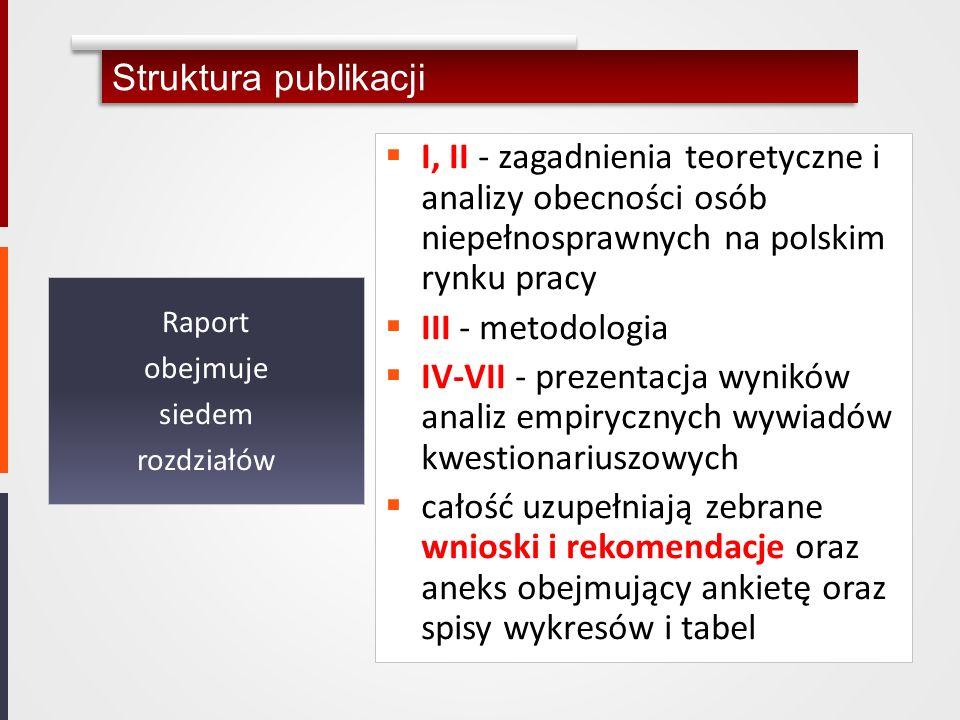 I, II - zagadnienia teoretyczne i analizy obecności osób niepełnosprawnych na polskim rynku pracy III - metodologia IV-VII - prezentacja wyników anali