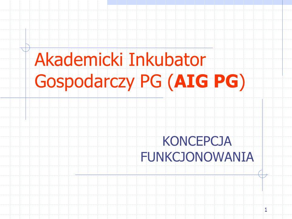 1 Akademicki Inkubator Gospodarczy PG (AIG PG) KONCEPCJA FUNKCJONOWANIA