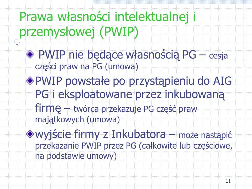 11 Prawa własności intelektualnej i przemysłowej (PWIP) PWIP nie będące własnością PG – cesja części praw na PG (umowa) PWIP powstałe po przystąpieniu