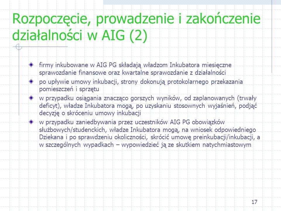 17 Rozpoczęcie, prowadzenie i zakończenie działalności w AIG (2) firmy inkubowane w AIG PG składają władzom Inkubatora miesięczne sprawozdanie finanso