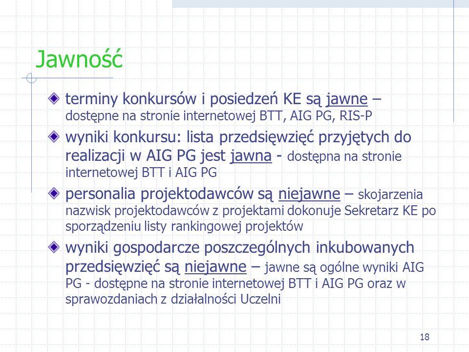 18 Jawność terminy konkursów i posiedzeń KE są jawne – dostępne na stronie internetowej BTT, AIG PG, RIS-P wyniki konkursu: lista przedsięwzięć przyję