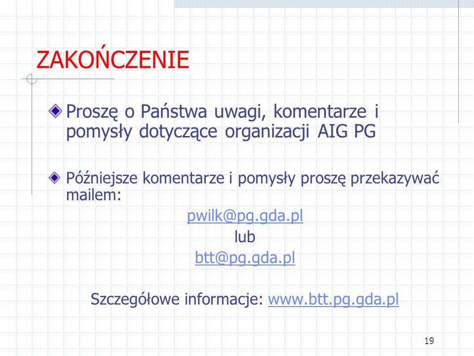 19 ZAKOŃCZENIE Proszę o Państwa uwagi, komentarze i pomysły dotyczące organizacji AIG PG Późniejsze komentarze i pomysły proszę przekazywać mailem: pw