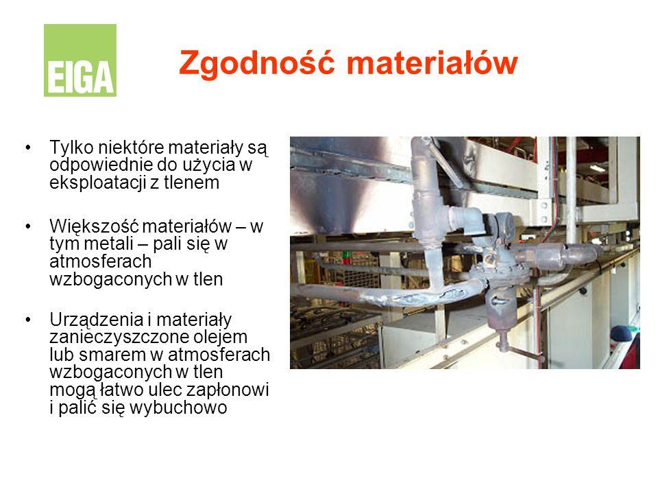 Zgodność materiałów Tylko niektóre materiały są odpowiednie do użycia w eksploatacji z tlenem Większość materiałów – w tym metali – pali się w atmosfe