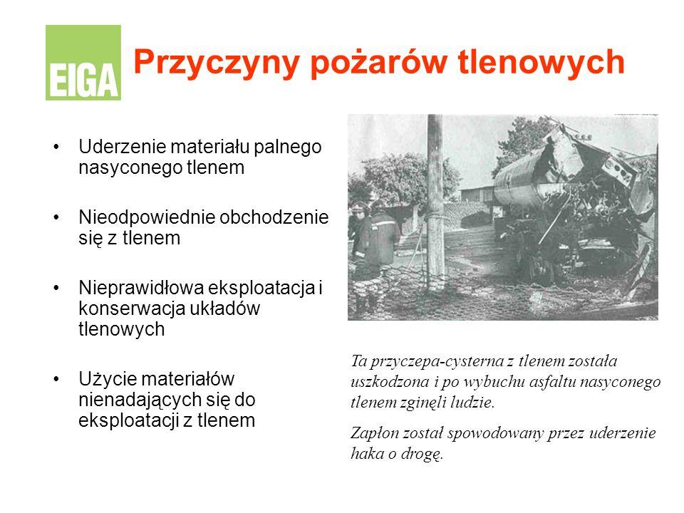 Uderzenie materiału palnego nasyconego tlenem Nieodpowiednie obchodzenie się z tlenem Nieprawidłowa eksploatacja i konserwacja układów tlenowych Użyci