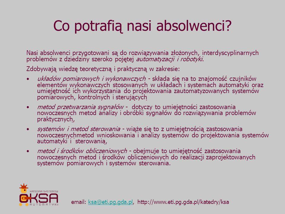Co potrafią nasi absolwenci? email: ksa@eti.pg.gda.pl, http://www.eti.pg.gda.pl/katedry/ksaksa@eti.pg.gda.pl Nasi absolwenci przygotowani są do rozwią