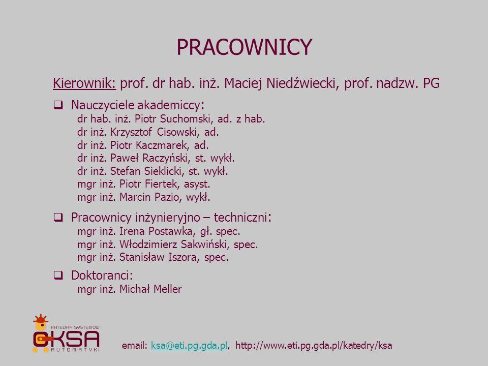DZIEDZINY AKTYWNOŚCI NAUKOWEJ email: ksa@eti.pg.gda.pl, http://www.eti.pg.gda.pl/katedry/ksaksa@eti.pg.gda.pl AutomatykaRobotyka sterowanie robotami mobilnymi, w tym sterowanie w oparciu o sprzężenie wizyjne autonomiczne roboty mobilne roboty inspekcyjne modelowanie cyfrowe identyfikacja procesów projektowanie i optymalizacja komputerowych systemów sterowania sterowanie adaptacyjne i adaptacyjne przetwarzanie sygnałów nowe metody aktywnego tłumienia drgań w układach mechanicznych i akustycznych automatyka budynkowa