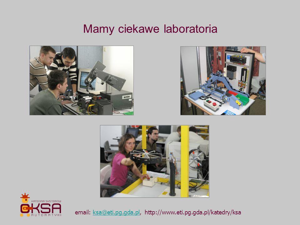 email: ksa@eti.pg.gda.pl, http://www.eti.pg.gda.pl/katedry/ksaksa@eti.pg.gda.pl Realizujemy projekty grupowe i prace dyplomowe dla odbiorców zewnętrznych, objęte systemem wynagrodzeń autorskich jak np..: 1.projekty z dziedziny bioinformatyki i przetwarzania sygnałów dla szwedzkiej firmy MedicWave: a.Wygładzanie widm proteinowych otrzymywanych ze spektrometru masowego SELDI-TOF b.Analiza i dwuwymiarowa wizualizacja wyników elektroforezy żelowej c.Diagnozowanie raka płuc w oparciu o wyniki analizy widm proteinowych 2.systemy automatyki i sterowania dla firm: a.Utrzymanie ruchu systemów sterownia DCS w Zakładach Farmaceutycznych POLPHARMA b.System sterowania urządzeniem terapii cellulitu w warunkach kontrolowanego wysiłku i redukcji ciśnienia atmosferycznego - dla firmy VacuWell Wellness & Beauty c.System konfiguracji narzędzi użytkowych robota w przemysłowych procesach spawalniczych – dla firmy AIC ….
