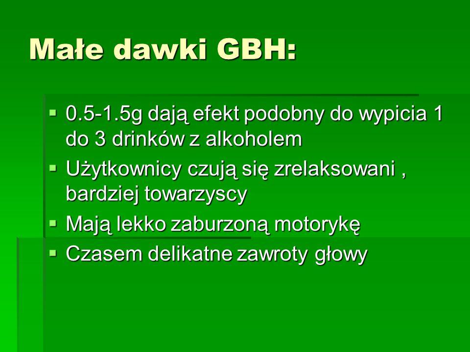 Małe dawki GBH: 0.5-1.5g dają efekt podobny do wypicia 1 do 3 drinków z alkoholem 0.5-1.5g dają efekt podobny do wypicia 1 do 3 drinków z alkoholem Uż