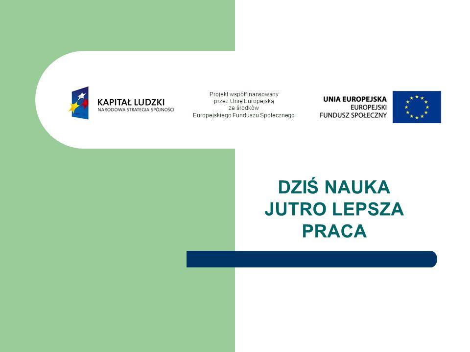 DZIŚ NAUKA JUTRO LEPSZA PRACA Projekt współfinansowany przez Unię Europejską ze środków Europejskiego Funduszu Społecznego