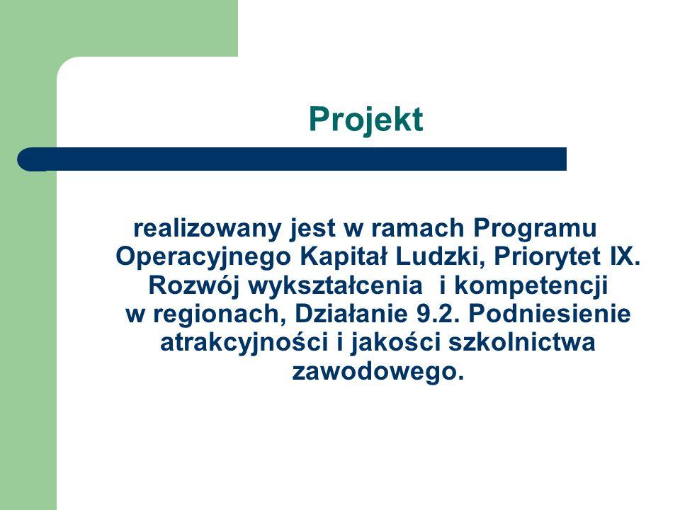 Projekt realizowany jest w ramach Programu Operacyjnego Kapitał Ludzki, Priorytet IX. Rozwój wykształcenia i kompetencji w regionach, Działanie 9.2. P