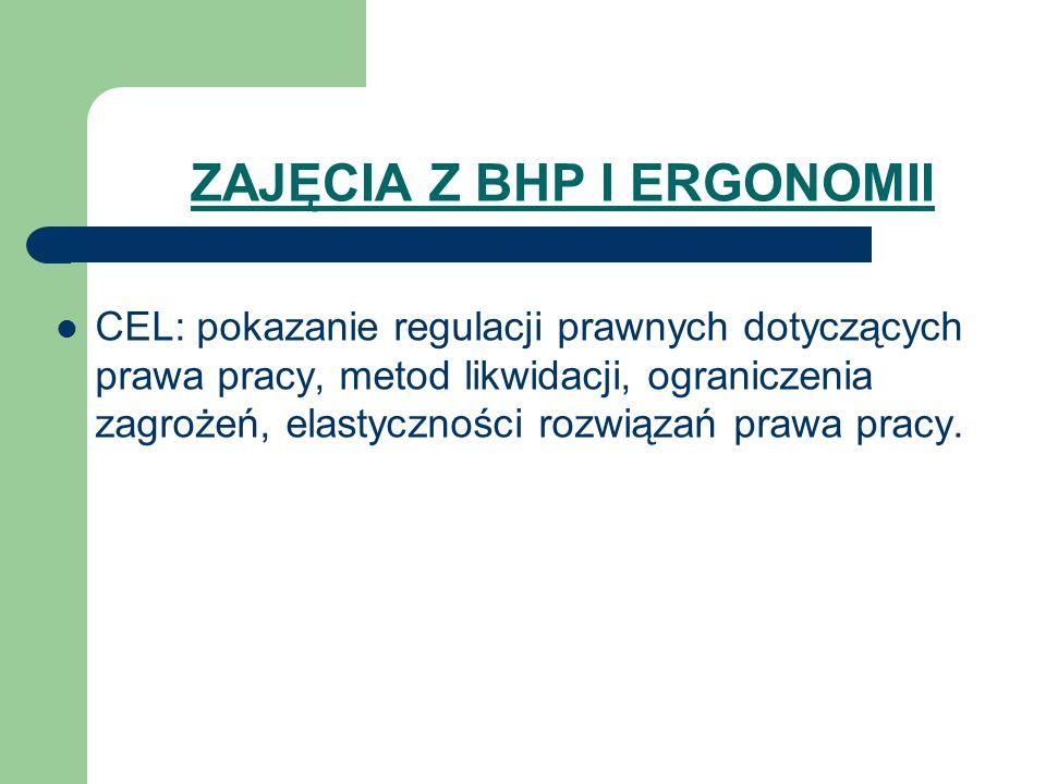 ZAJĘCIA Z BHP I ERGONOMII CEL: pokazanie regulacji prawnych dotyczących prawa pracy, metod likwidacji, ograniczenia zagrożeń, elastyczności rozwiązań