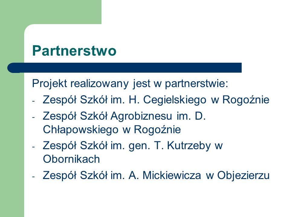 Partnerstwo Projekt realizowany jest w partnerstwie: - Zespół Szkół im. H. Cegielskiego w Rogoźnie - Zespół Szkół Agrobiznesu im. D. Chłapowskiego w R