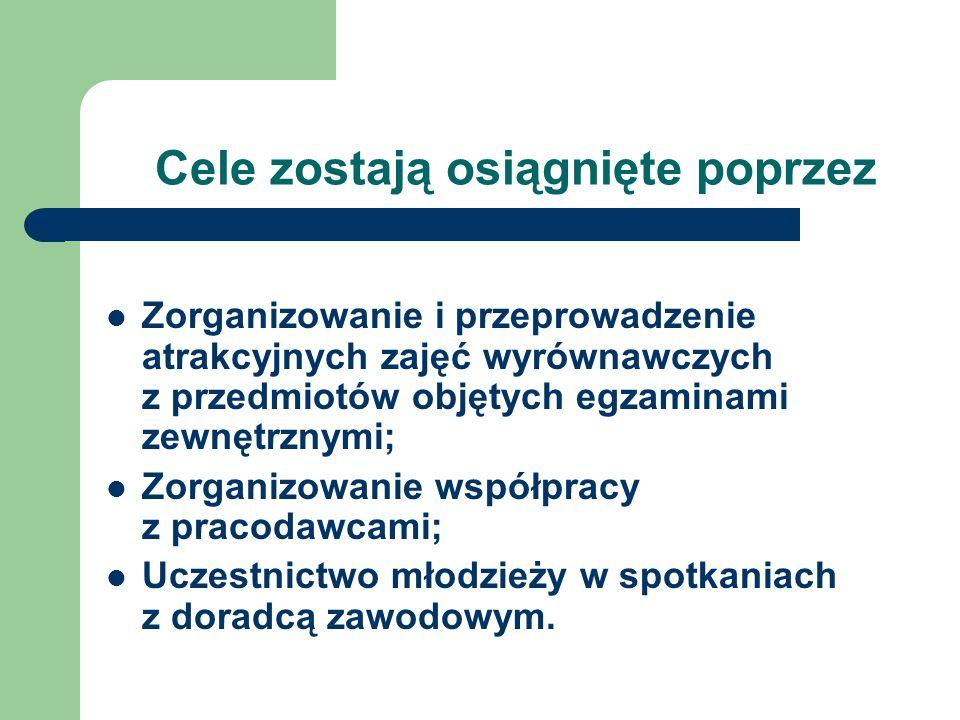 Cele zostają osiągnięte poprzez Zorganizowanie i przeprowadzenie atrakcyjnych zajęć wyrównawczych z przedmiotów objętych egzaminami zewnętrznymi; Zorg