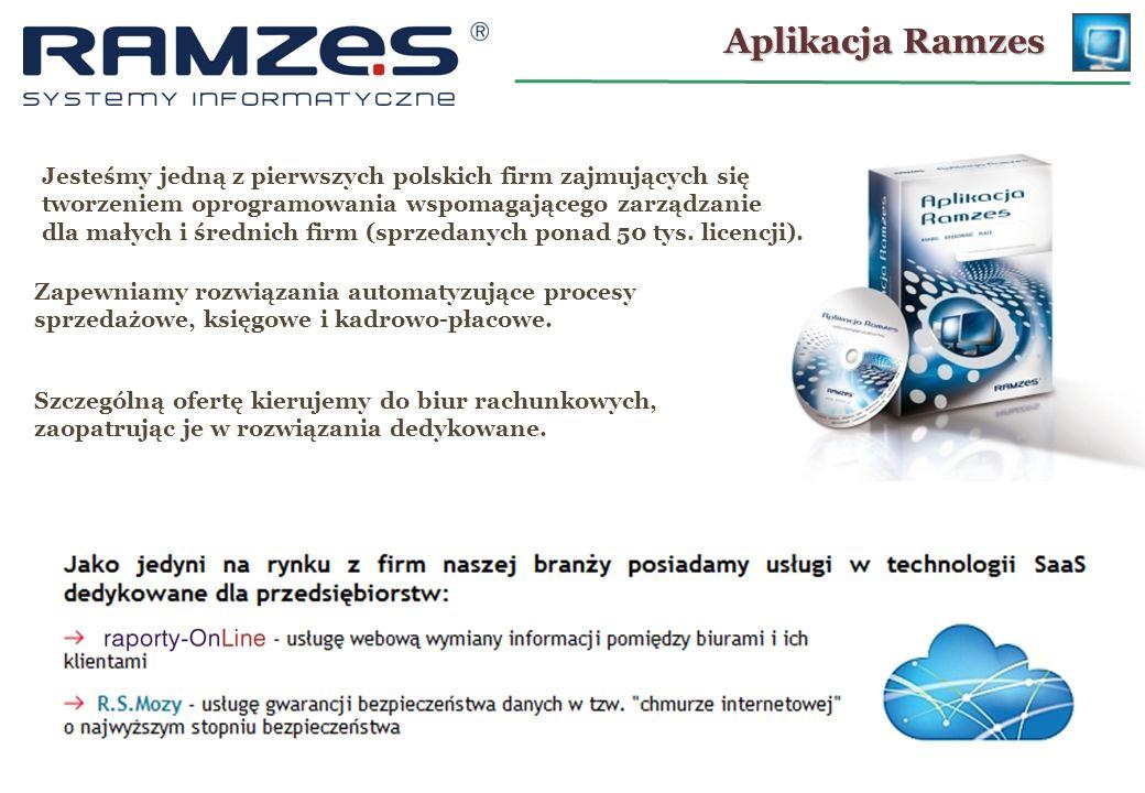 Aplikacja Ramzes Jesteśmy jedną z pierwszych polskich firm zajmujących się tworzeniem oprogramowania wspomagającego zarządzanie dla małych i średnich