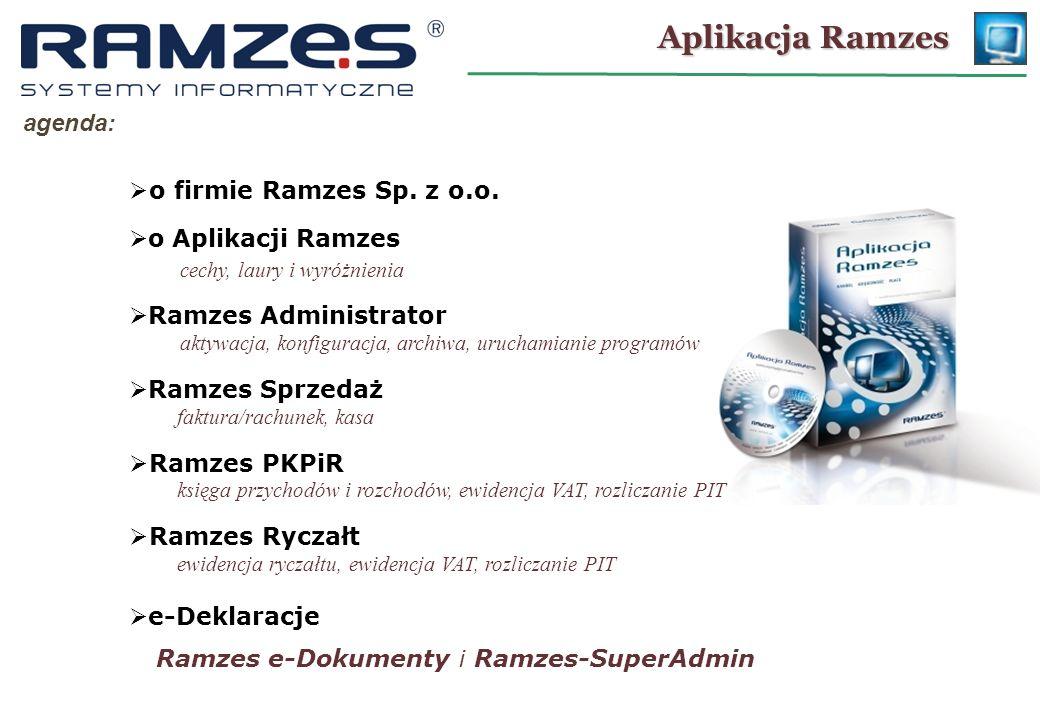 Parametry firmy: Ramzes – Administrator KONFIGURACJA: