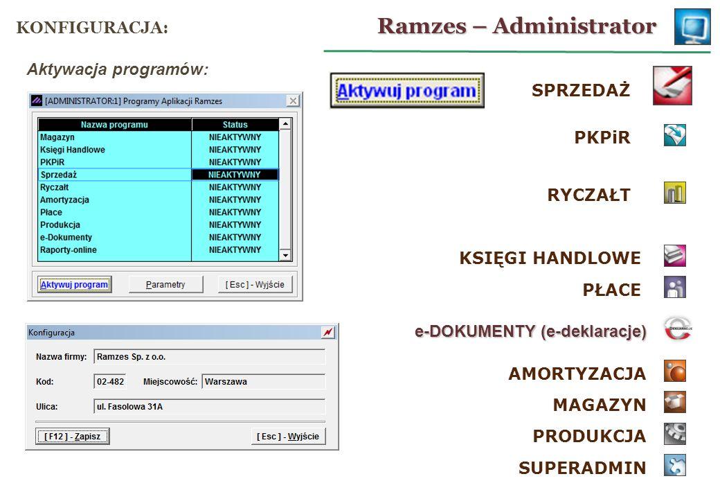 SPRZEDAŻ MAGAZYN PRODUKCJA PKPiR KSIĘGI HANDLOWE RYCZAŁT PŁACE SUPERADMIN AMORTYZACJA e-DOKUMENTY (e-deklaracje) Aktywacja programów: Ramzes – Adminis
