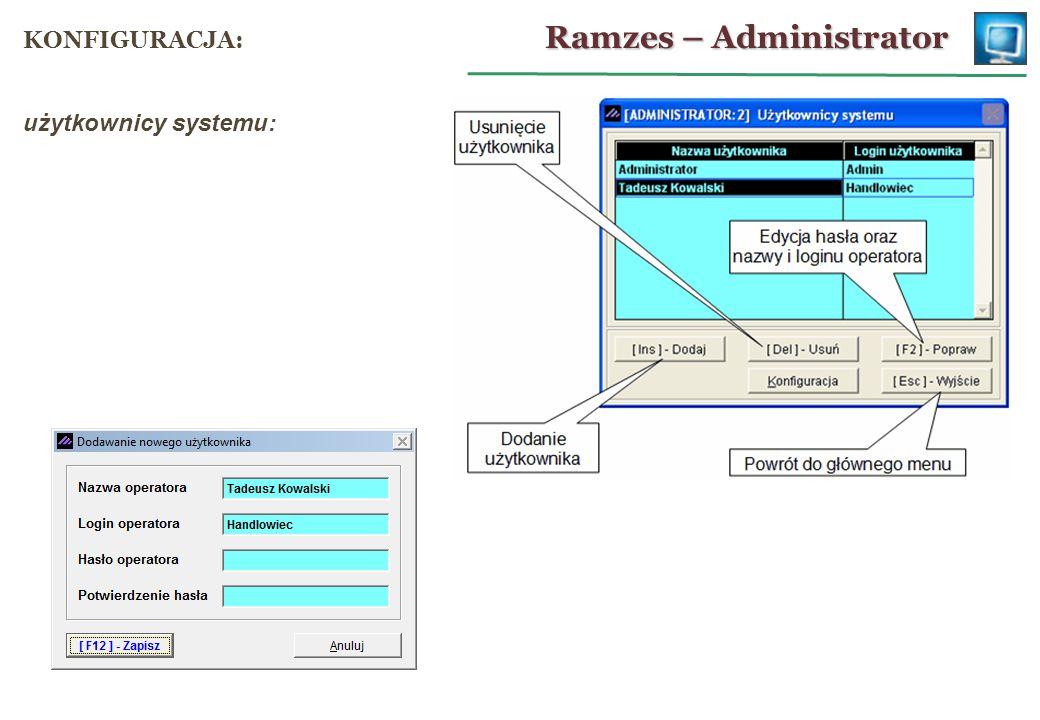 użytkownicy systemu: Ramzes – Administrator KONFIGURACJA: