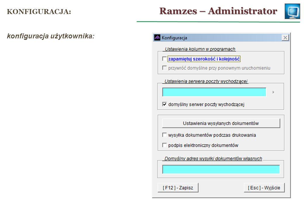 konfiguracja użytkownika: Ramzes – Administrator KONFIGURACJA: