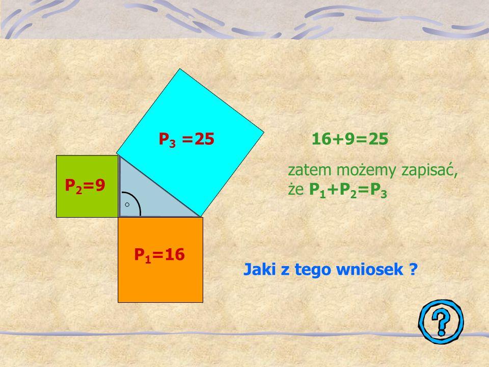 Wykonaj zadanie, a dowiesz się co zauważył Pitagoras… Dany jest trójkąt prostokątny o bokach 3, 4, 5. Oblicz pola kwadratów zbudowanych na tych bokach