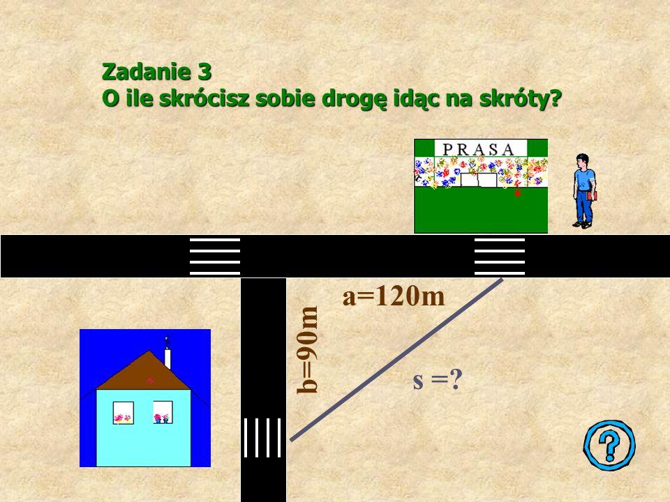 Z twierdzenia Pitagorasa 6 2 +b 2 =9 2 zatem 36+b 2 =81 Przekształcając równanie otrzymujemy: b 2 =45 b= b= 3 Zadanie 2 Przeciwprostokątna trójkąta pr