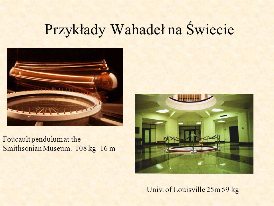 Przykłady Wahadeł na Świecie Foucault pendulum at the Smithsonian Museum. 108 kg 16 m Univ. of Louisville 25m 59 kg