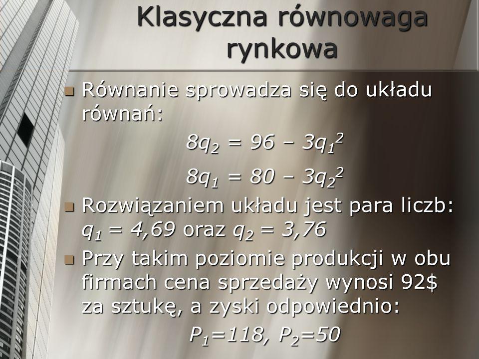 Klasyczna równowaga rynkowa Równanie sprowadza się do układu równań: Równanie sprowadza się do układu równań: 8q 2 = 96 – 3q 1 2 8q 1 = 80 – 3q 2 2 Ro