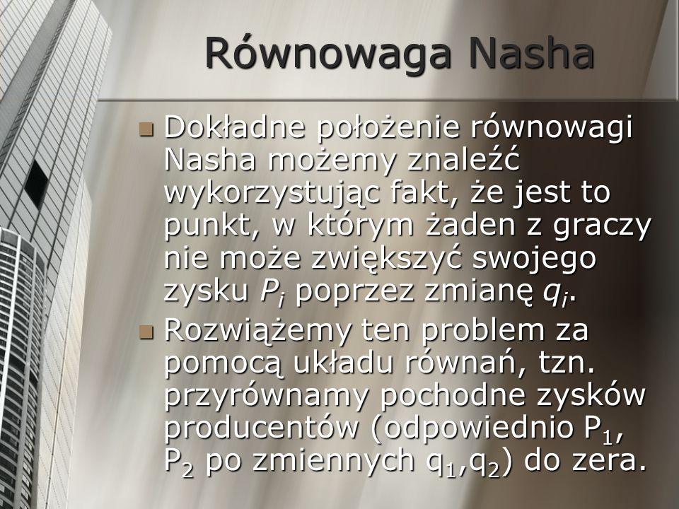 Równowaga Nasha Dokładne położenie równowagi Nasha możemy znaleźć wykorzystując fakt, że jest to punkt, w którym żaden z graczy nie może zwiększyć swo