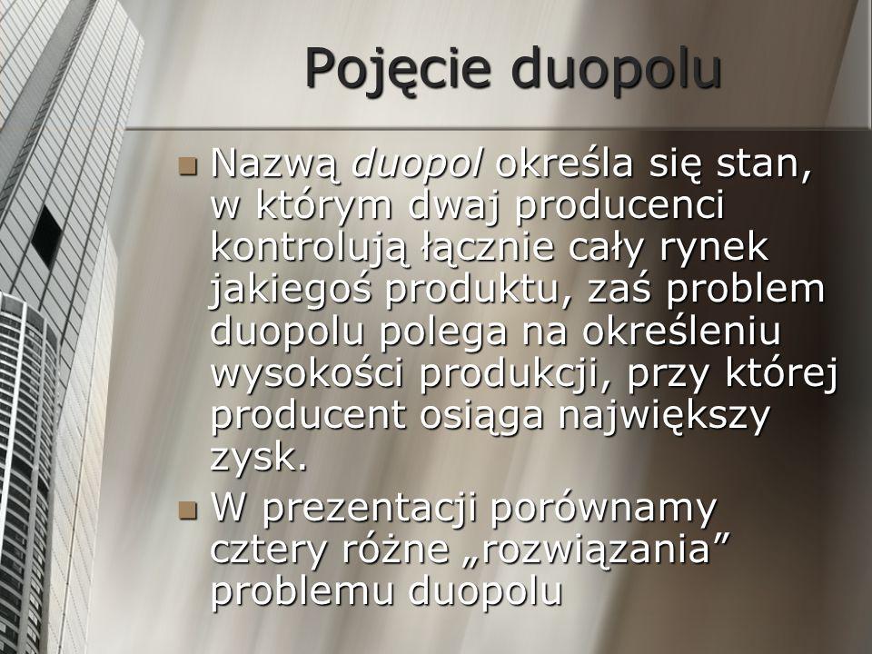 Pojęcie duopolu Nazwą duopol określa się stan, w którym dwaj producenci kontrolują łącznie cały rynek jakiegoś produktu, zaś problem duopolu polega na