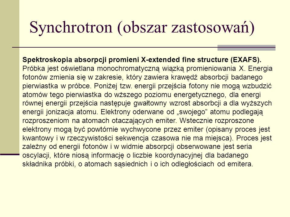 Synchrotron (obszar zastosowań) Spektroskopia absorpcji promieni X-extended fine structure (EXAFS). Próbka jest oświetlana monochromatyczną wiązką pro