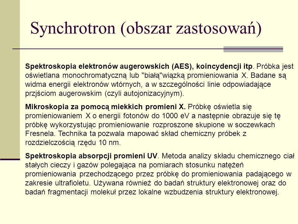 Synchrotron (obszar zastosowań) Spektroskopia elektronów augerowskich (AES), koincydencji itp. Próbka jest oświetlana monochromatyczną lub