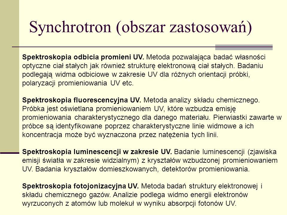 Synchrotron (obszar zastosowań) Spektroskopia odbicia promieni UV. Metoda pozwalająca badać własności optyczne ciał stałych jak również strukturę elek