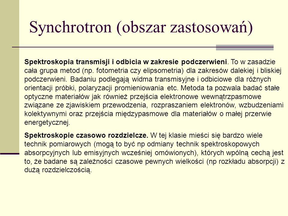 Synchrotron (obszar zastosowań) Spektroskopia transmisji i odbicia w zakresie podczerwieni. To w zasadzie cała grupa metod (np. fotometria czy elipsom