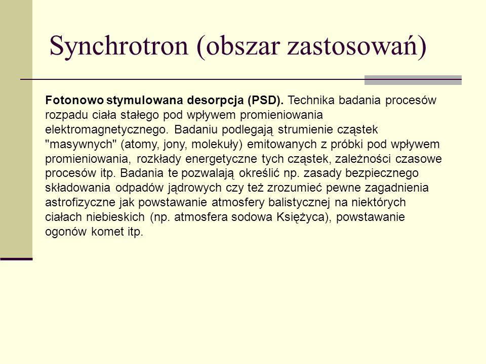 Synchrotron (obszar zastosowań) Fotonowo stymulowana desorpcja (PSD). Technika badania procesów rozpadu ciała stałego pod wpływem promieniowania elekt