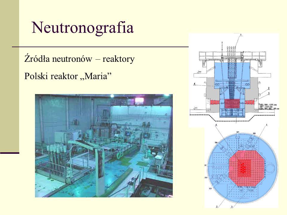 Neutronografia Źródła neutronów – reaktory Polski reaktor Maria